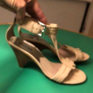 Michael Kors Cream Colored Ankle Wrap Wedge Sz 10